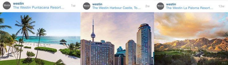 The Westin brand uses location tags to show off its properties and inspire potential guests.