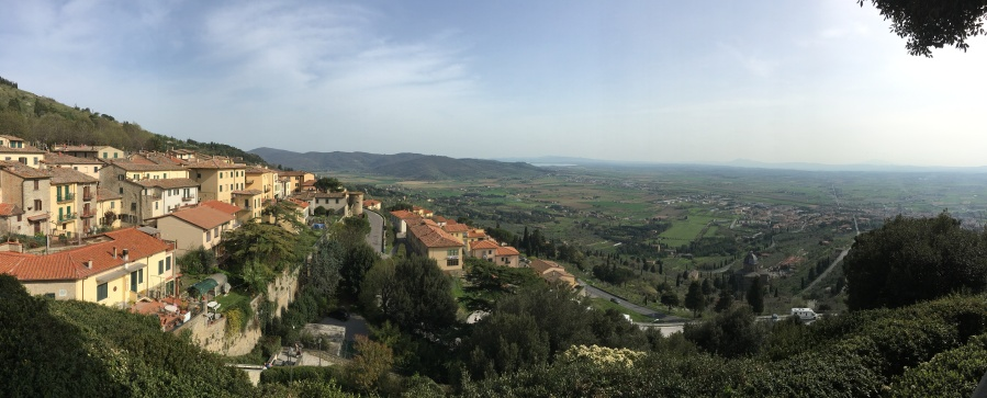 Part of the town of Cortona and the valley below.